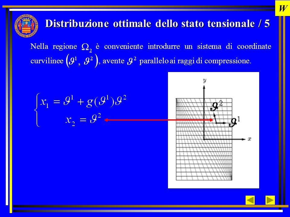 Distribuzione ottimale dello stato tensionale / 6 Nel sistema di riferimento curvilineo la geometria locale e la deformazione locale possono essere rappresentate introducendo: base vettoriale naturale base vettoriale reciproca Jacobiano della trasformazione restrizione su Sistema di riferimento variabile ortogonale W