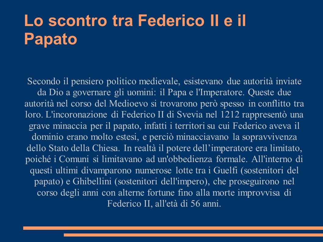 L Italia meridionale degli Angiò alla guerra del Vespro La morte di Federico II non pose fine alla guerra tra papato e impero, che fu continuata dal figlio naturale di Federico, Manfredi di Svevia, che si mise a capo delle forze Ghibelline, ottenendo un importante vittoria a Montaperti, nel 1260.