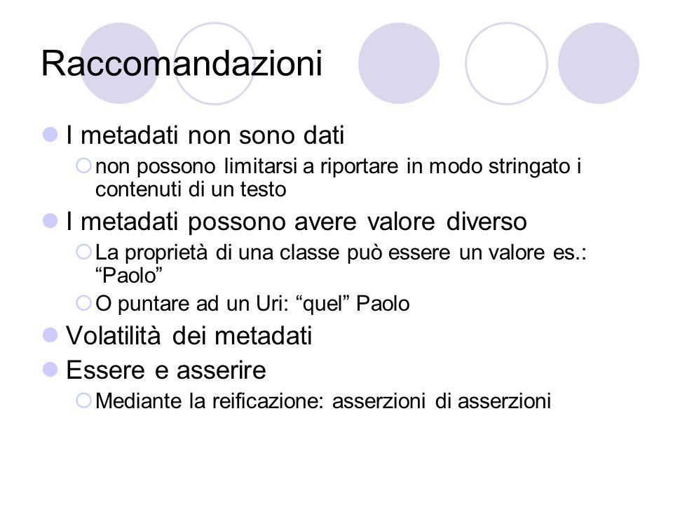 Costruzione di metadati Dall'ontologia ai metadati  http://www.nomesito.it/nomecorso/nomecorso.html http://www.nomesito.it/nomecorso/nomecorso.html  Indichiamo come si relazionano allo schema I metadati si definiscono mediante asserzioni:  Soggetto: Classe dello schema Esprimibile come Url Lo schema è esprimibile come spacename  Predicato: Attributi della classe  Oggetto: Dati I metadati si scrivono in file *.RDF