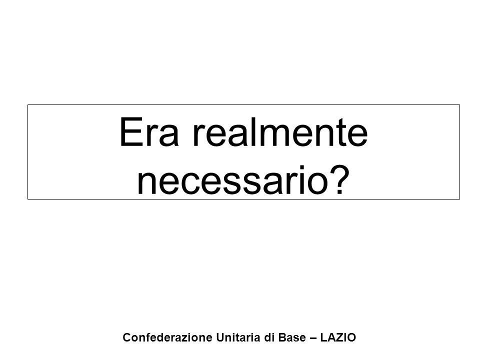 Confederazione Unitaria di Base – LAZIO La spesa pensionistica 1% di pil corrisponde al doppio della riduzione Irpef della finanziaria 2004