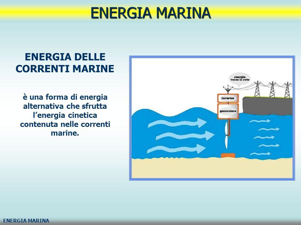 ENERGIA MARINA ENERGIA A GRADIENTE SALINO energia osmotica detta anche energia osmotica è l energia ottenuta dalla differenza nella concentrazione del sale fra l acqua di mare e l acqua dolce (per esempio alla foce di un fiume).