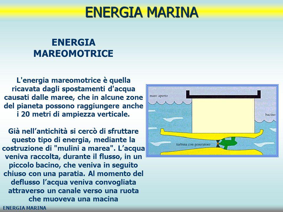 ENERGIA MARINA ENERGIA DEL MOTO ONDOSO L energia mareomotrice è quella ricavata dalle onde Vi sono varie tecniche di sfruttamento del moto ondoso.
