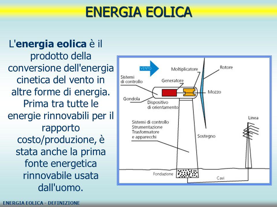 Le centrali eoliche sono costituite da gruppi di turbine a vento accoppiate a generatori di corrente (aerogeneratori).