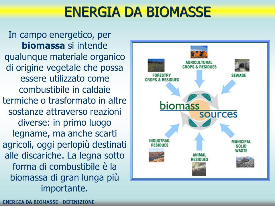 ENERGIA DA BIOMASSE – PRINCIPALI COMBUSTIBILI DA BIOMASSE ENERGIA DA BIOMASSE