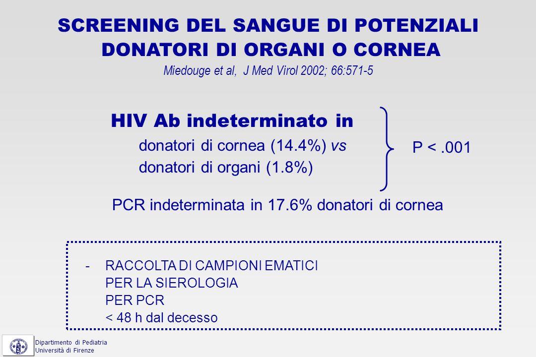 affidabilità nella diagnosi di infezione primaria Hecht FM et al.