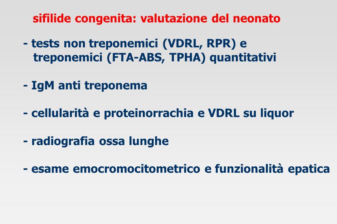sifilide congenita: diagnosi di infezione test non treponemici*test treponemici§ interpretazione (VDRL, RPR)(FTA-ABS, TPHA) madrebambinomadrebambino + + - - falso + madre + +/- + + sifilide materna possibile infezione neonato - - + + sifilide materna efficacemente trattata nel bambino non infetto: * negativi a 4-6 mesi; § a 1 anno Red Book 2000