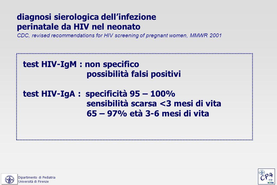 diagnosi di infezione perinatale da HIV Revised Classification System for Pediatric HIV Infection, CDC 1993 < 18 mesi di età (se HIV Ab + o nato da madre HIV+): almeno 2 risultati positivi - coltura virale - polymerase chain reaction (PCR) - antigene p24 - o diagnosi clinica di AIDS > 18 mesi di età : - anticorpi anti-HIV + (EIA e WB) in 2 determinazioni Dipartimento di Pediatria Università di Firenze CP4
