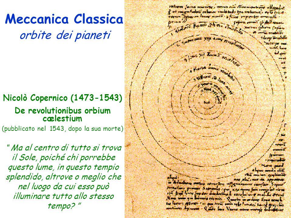Meccanica Classica orbite dei pianeti Nicolò Copernico (1473-1543) De revolutionibus orbium cælestium (pubblicato nel 1543, dopo la sua morte) Ma al centro di tutto si trova il Sole, poiché chi porrebbe questo lume, in questo tempio splendido, altrove o meglio che nel luogo da cui esso può illuminare tutto allo stesso tempo.