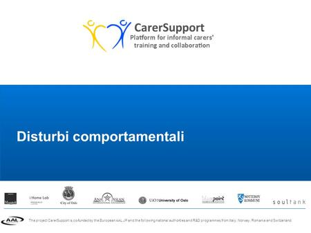 The project CarerSupport is co-funded by the European AAL JP and the following national authorities and R&D programmes from Italy, Norway, Romania and.