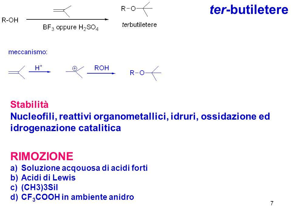 8 Trifenilmetiletere Puo essere utilizzato per la protezione di alcoli o ammine primarie.