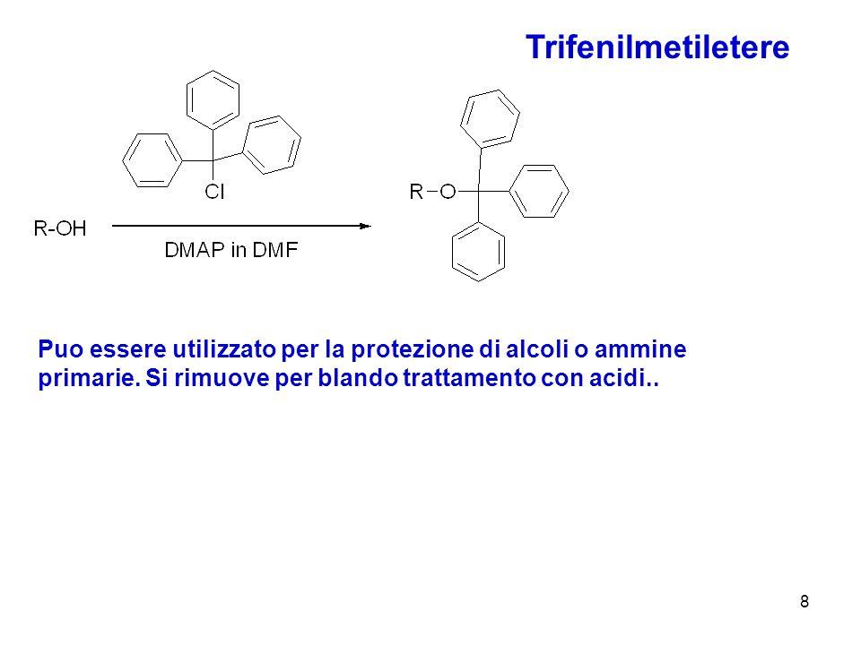 9 MOM metossimetil etere O-CH 2 OCH 3 Si introduce per reazione del clorometiletiletere con un alcolato È sensibile agli acidi ed è stabile per pH 4-14 Si rimuove per reazione con acidi come HCl/MeOH ETERI PARTICOLARI acetali