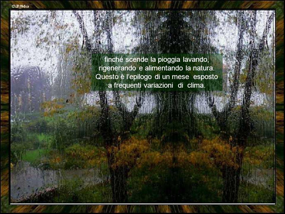 finché scende la pioggia lavando, rigenerando e alimentando la natura.