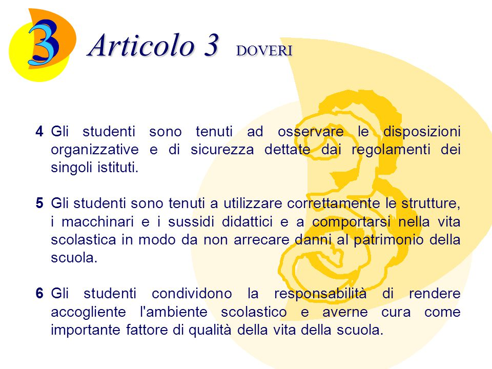 Articolo 4 DISCIPLINA -I regolamenti delle singole scuole determinano i comportamenti da punire, le sanzioni, chi e come applica le sanzioni.