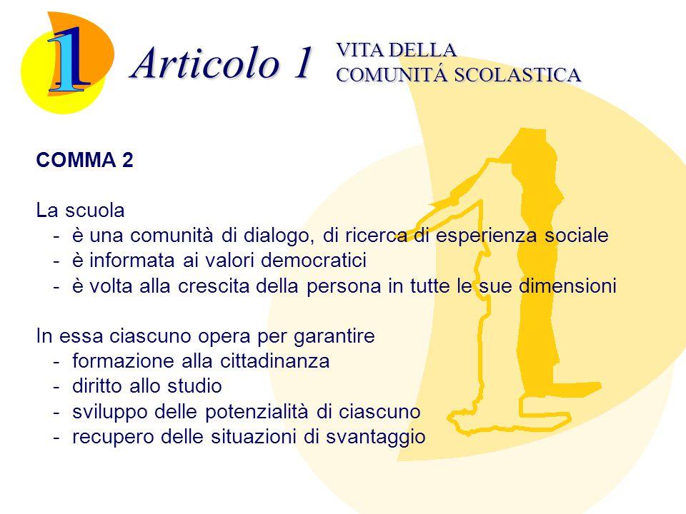 Articolo 1 COMUNITÁ SCOLASTICA VITA DELLA COMMA 3 La comunità scolastica è parte della comu- nità sociale e civile ed interagisce con esse.
