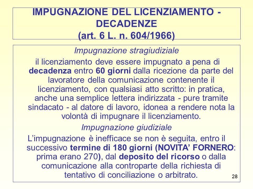 29 RITO LICENZIAMENTI NELL'AREA DELLA TUTELA FORTE (art.