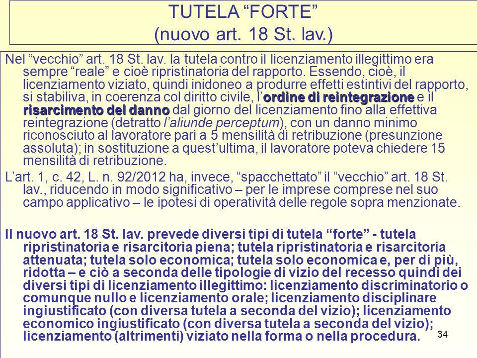 35 TUTELA FORTE Art.18 St. lav. 1.Tutela ripristinatoria e tutela risarcitoria piena (c.