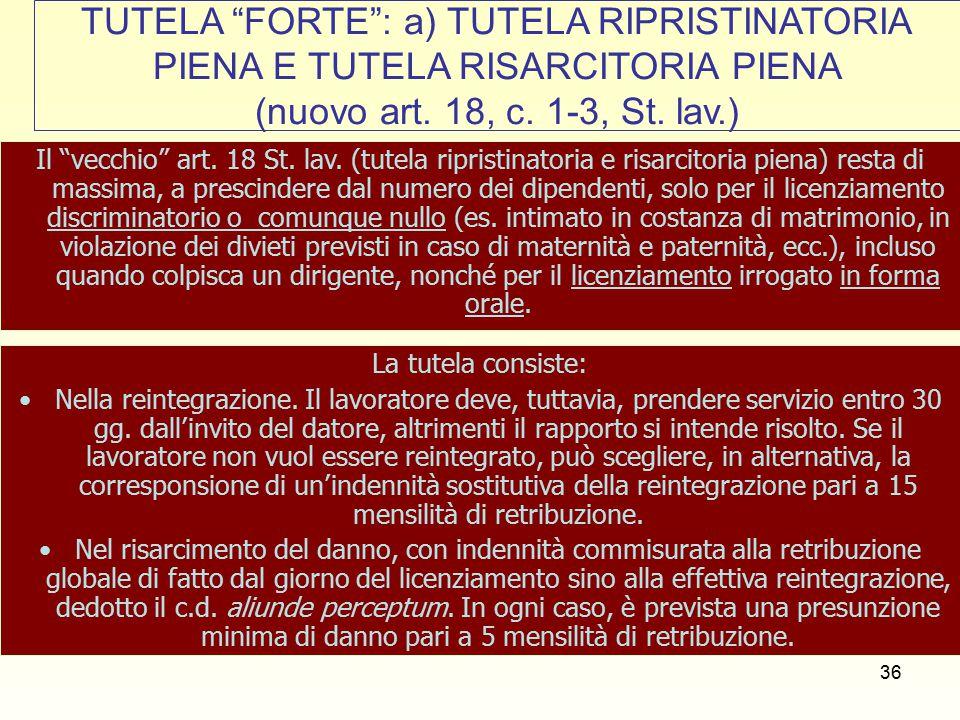 37 TUTELA FORTE : b) LA TUTELA RIPRISTINATORIA PIENA E TUTELA RISARCITORIA ATTENUATA (nuovo art.