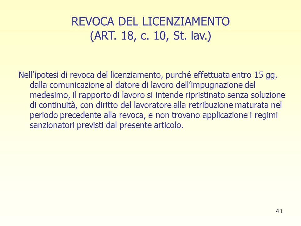 42 TUTELA DEBOLE (artt.8 L. n. 604/1966 e 30, c.