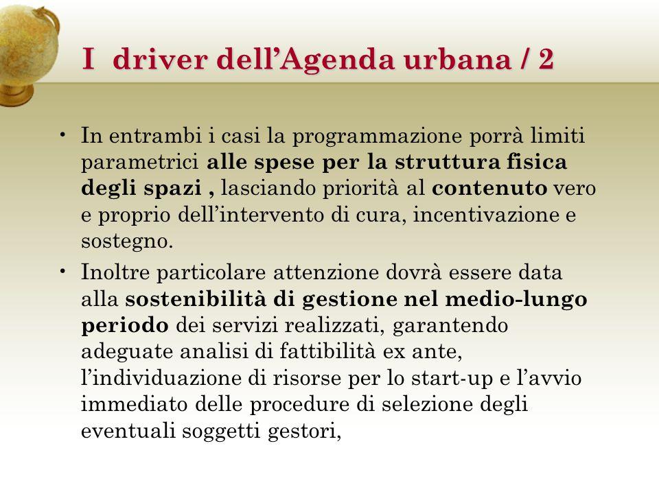 I driver dell'Agenda urbana / 2 Il driver pratiche e progettazione per l'inclusione sociale concorre al raggiungimento dei risultati dell'OT 9 Inclusione sociale, lotta alla povertà e a ogni discriminazione ,