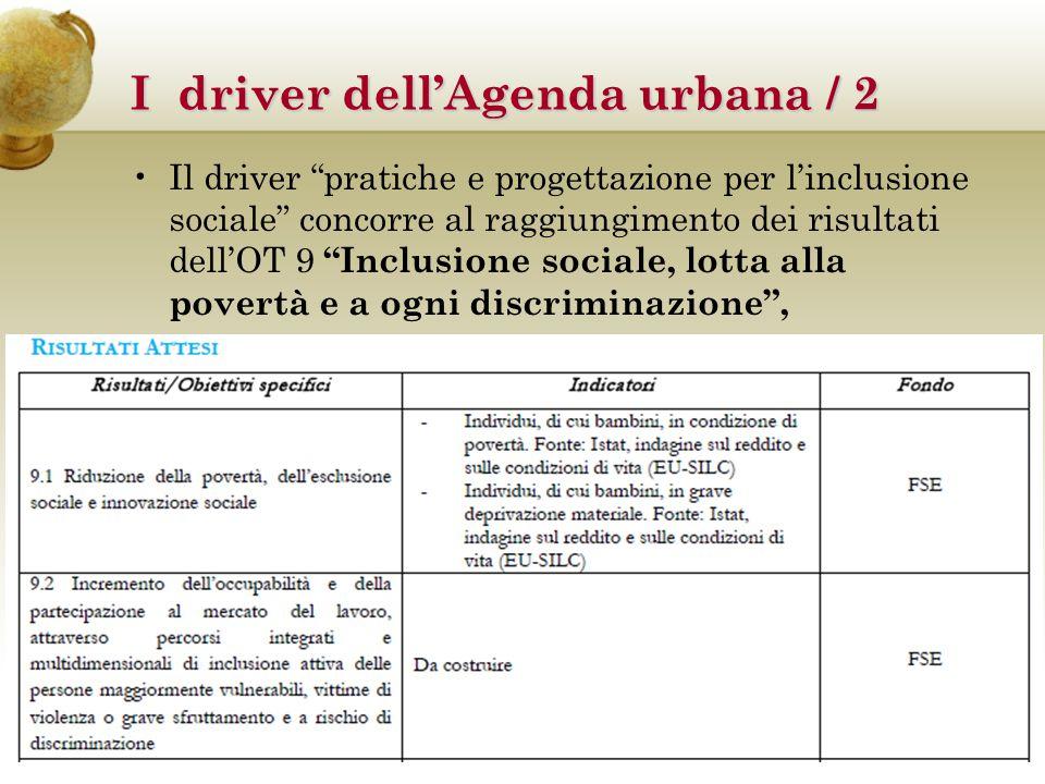I driver dell'Agenda urbana / 2 OBIETTIVO TEMATICO 9 Inclusione sociale, lotta alla povertà e a ogni discriminazione