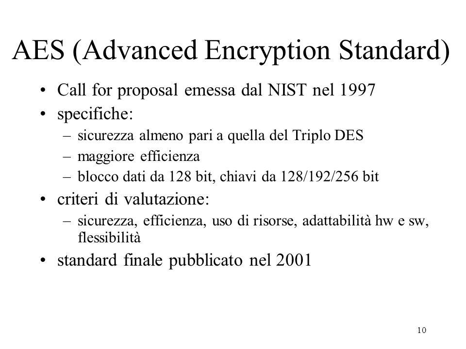 11 Altri algoritmi a chiave privata IDEA (International Data Encryption Algorithm) –sviluppato nel 1991 –blocco dati da 64 bit, chiave da 128 bit –operazioni: XOR, addizione e moltiplicazione a 16 bit –efficiente in software –finora appare altamente resistente alla crittoanalisi –usato nel PGP e in molti prodotti commerciali RC5 –sviluppato da Ron Rivest (RC = Ron's code) –algoritmo proprietario di RSA Data Security Inc.