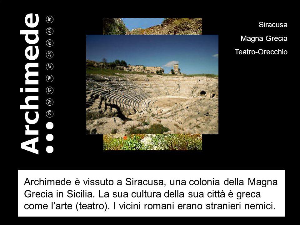 5 10 15 20 25 30 35 40 45 50 55 60 Siracusa Magna Grecia Teatro-Orecchio Archimede è vissuto a Siracusa, una colonia della Magna Grecia in Sicilia.