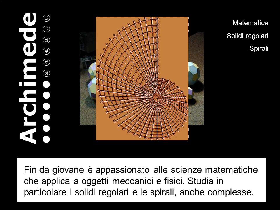 Matematica Solidi regolari Spirali Fin da giovane è appassionato alle scienze matematiche che applica a oggetti meccanici e fisici.