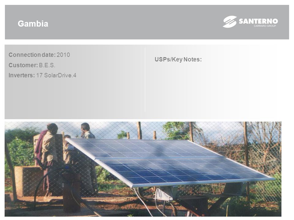 Mali Connection date: 2009 Customer: Diawara Solar Energy Inverters: 1 SolarDrive.4 USPs/Key Notes: