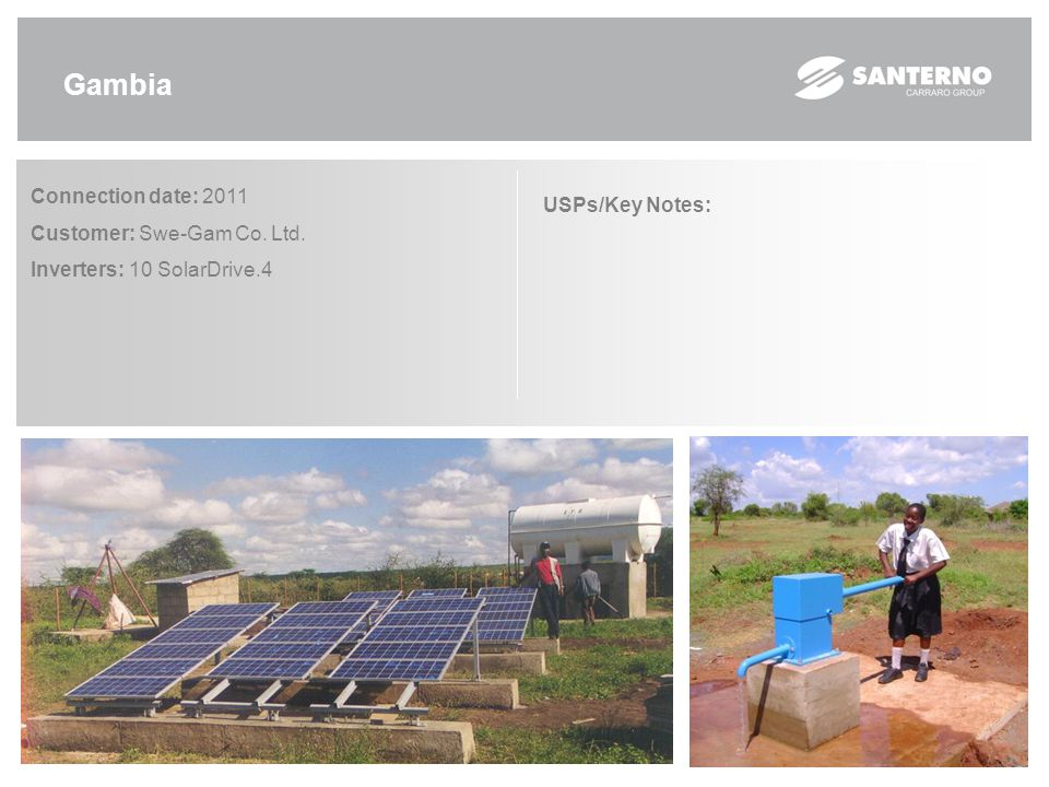 Etiopia Connection date: 2010 Customer: B.E.S. Inverters: 11 SolarDrive.4 USPs/Key Notes: