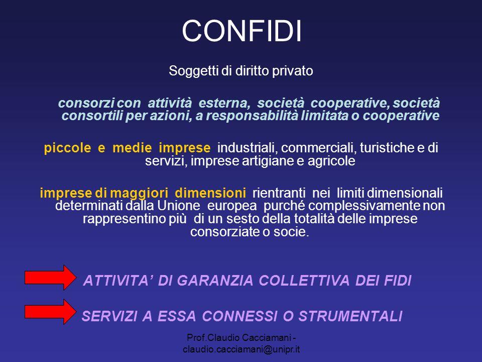 Prof.Claudio Cacciamani - claudio.cacciamani@unipr.it CONFIDI Prof.Claudio Cacciamani Università di Parma Facoltà di Economia