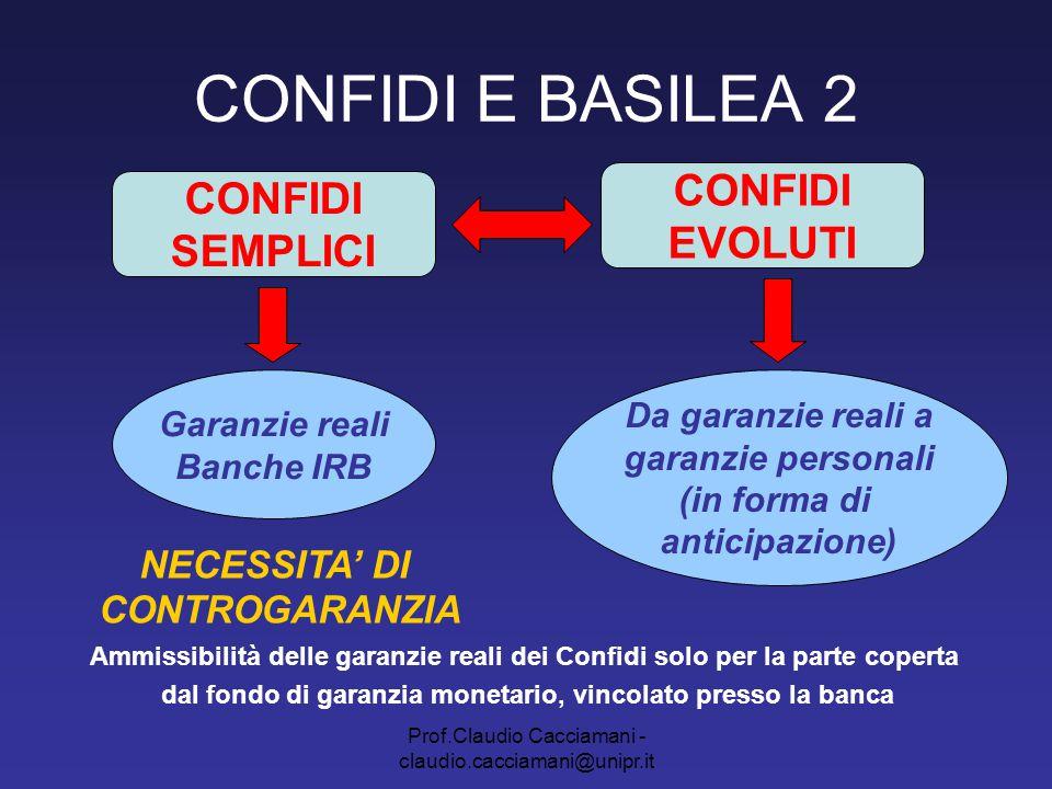 Prof.Claudio Cacciamani - claudio.cacciamani@unipr.it CONFIDI E BASILEA 2 CONFIDI SEMPLICI, 107 E BANCHE CARTOLARIZZAZIONI TRANCHED COVER GARANZIA DI UN DATO POOL DI ESPOSIZIONI ATTRAVERSO I PROPRI FONDI RISCHI (garanzia reale) Cartolarizzazione = operazioni che coinvolgono una o più esposizioni per le quali sia prevista la segmentazione (tranching) del profilo di rischio di credito