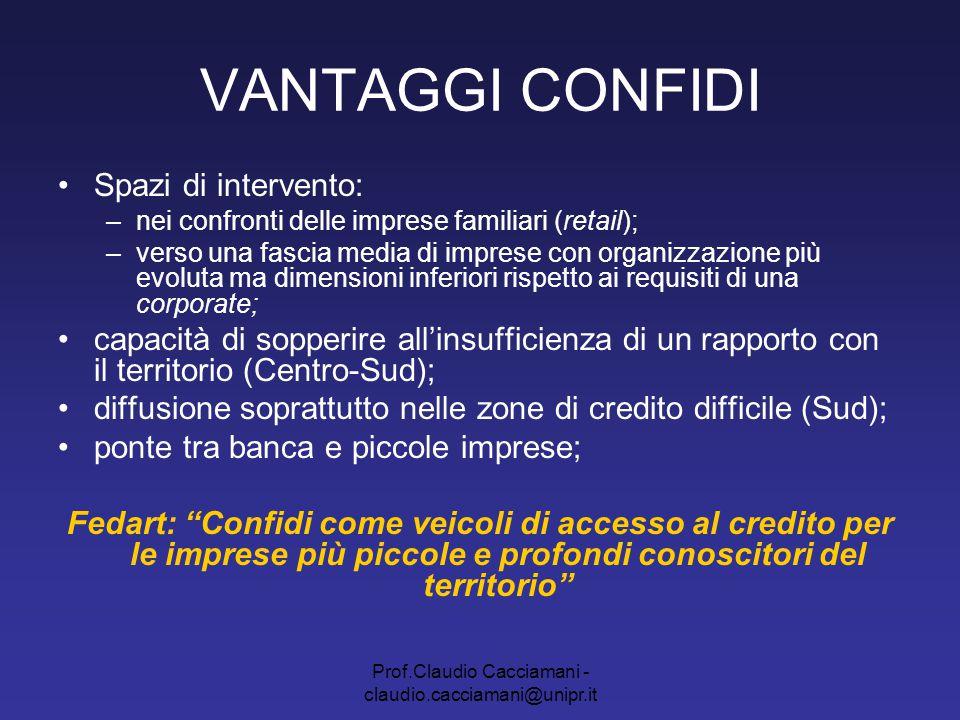 Prof.Claudio Cacciamani - claudio.cacciamani@unipr.it VANTAGGI CONFIDI Raccolta ed elaborazione informazioni; plus di informazioni; progettazione di un'offerta mirata; Confidi come partners delle banche in consulenze, rating della qualità del credito ecc.