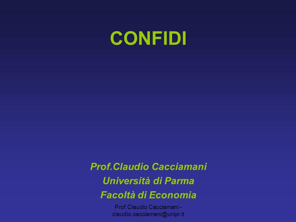 Prof.Claudio Cacciamani - claudio.cacciamani@unipr.it CONFIDI Normativa di riferimento: legge 269/2003 1.Regole patrimoniali maggiore patrimonializzazione garanzie più appetibili 2.