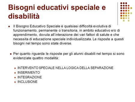 Bisogni educativi speciale e disabilità