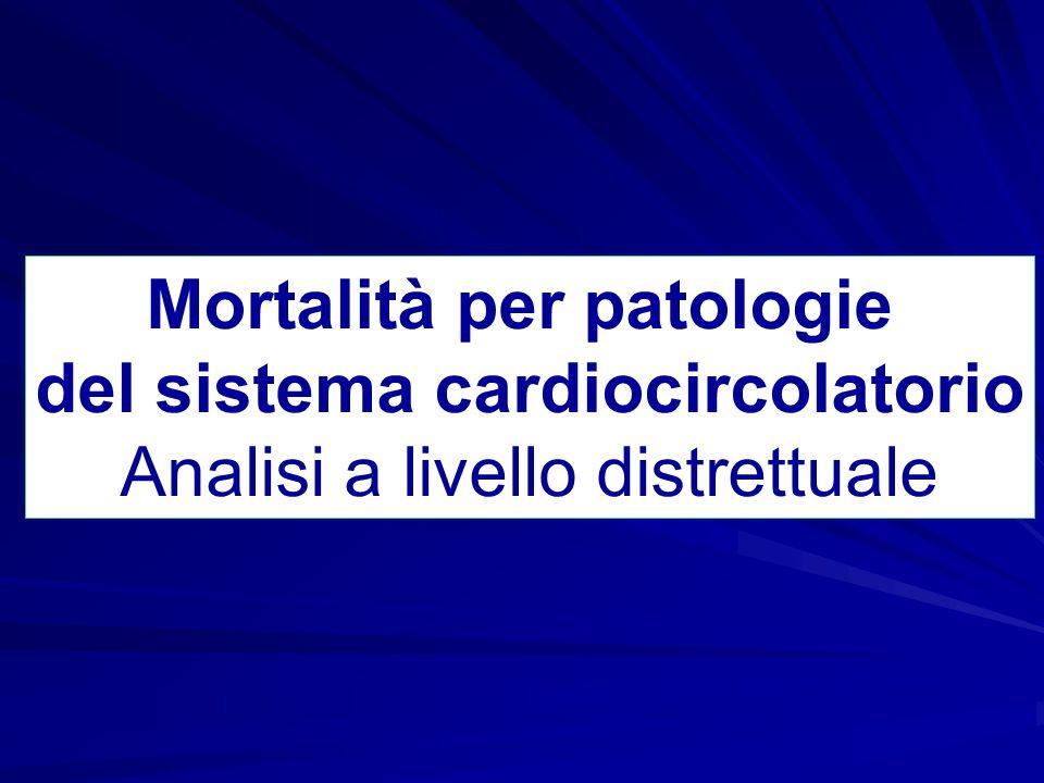 Tassi standardizzati di mortalità annui per malattie del sistema cardiocircolatorio per distretto sanitario (x 100.000), maschi anziani