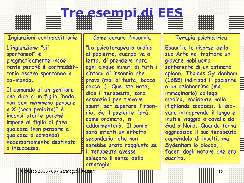 Covisco 2013 - 08 - Strategie diversive16 Avere un figlio come EES Anche avere un figlio (o un altro figlio) è uno stato EES.