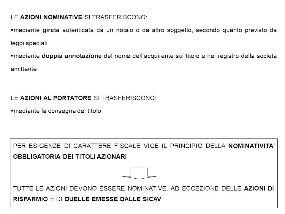 LE AZIONI SONO, DI REGOLA, LIBERAMENTE TRASFERIBILI.