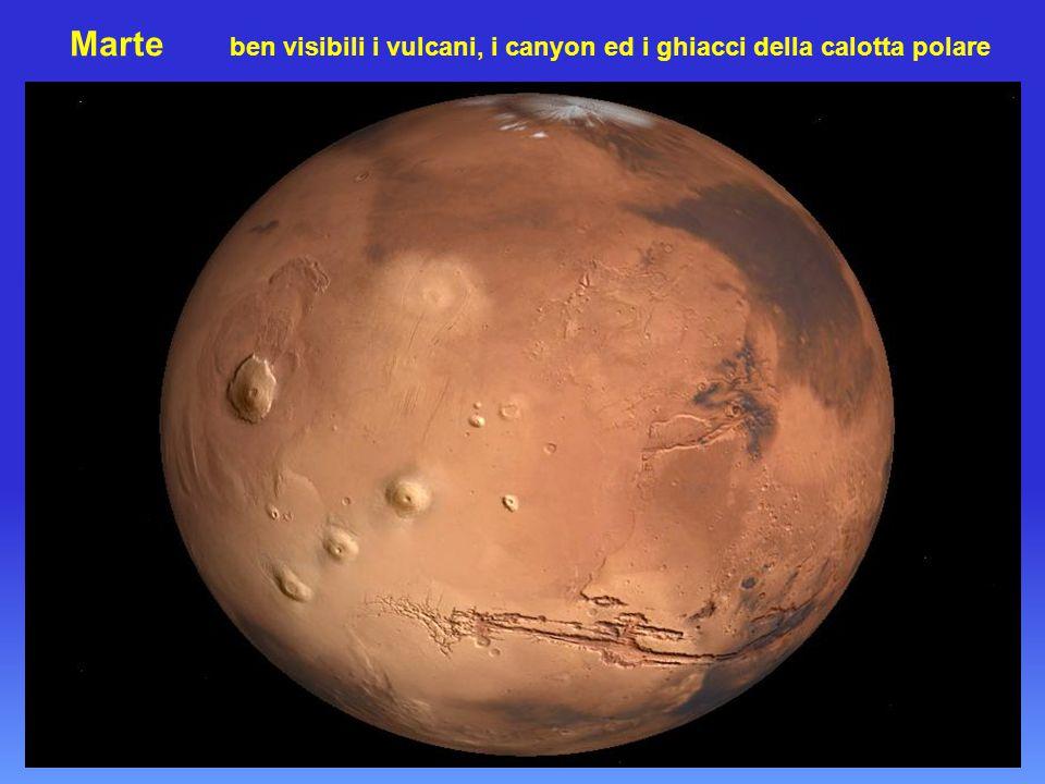 Marte ben visibili i vulcani, i canyon ed i ghiacci della calotta polare