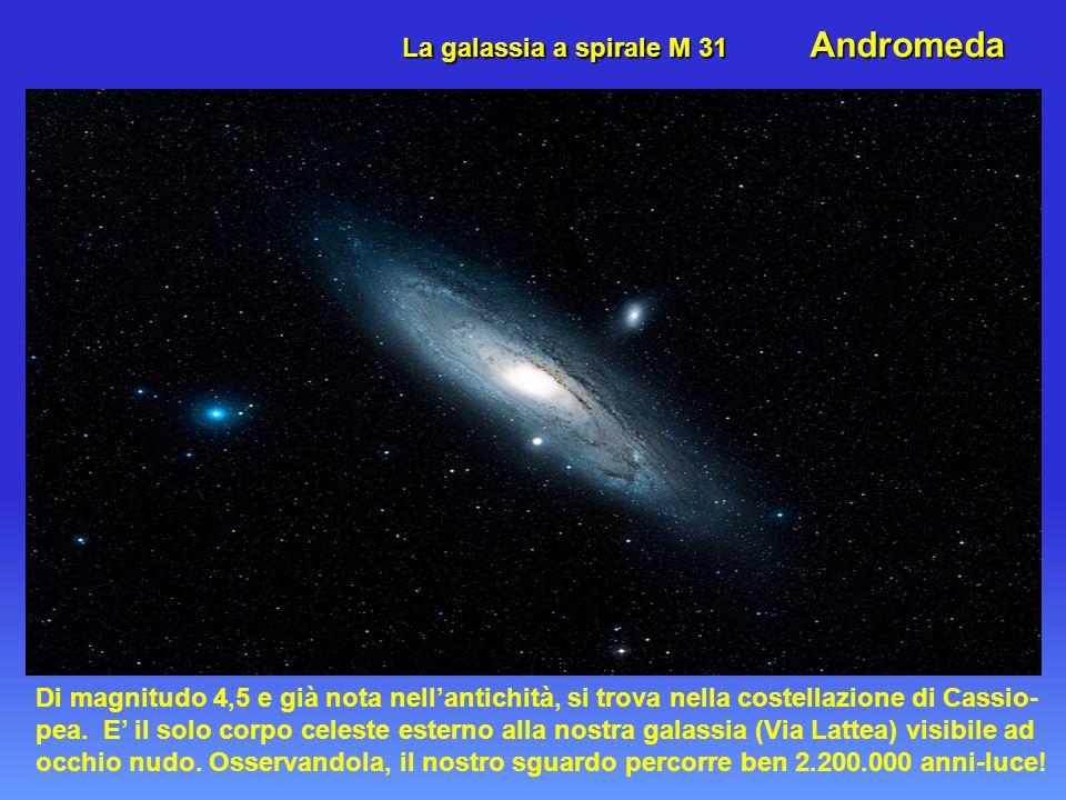 La galassia a spirale M 31 Andromeda Di magnitudo 4,5 e già nota nell'antichità, si trova nella costellazione di Cassio- pea.