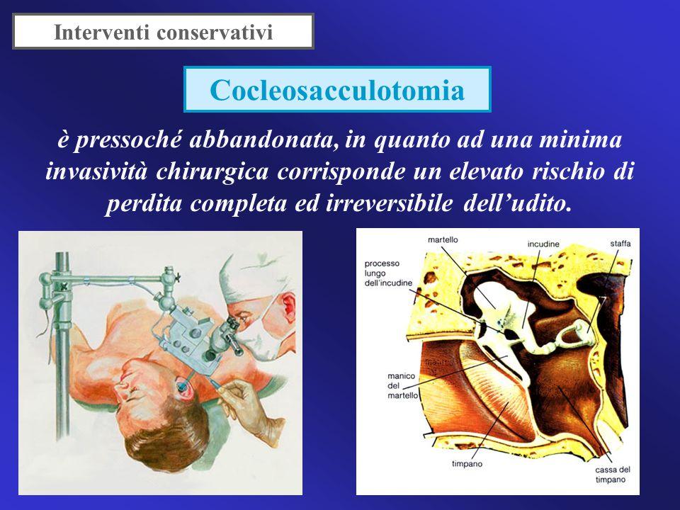 Interventi conservativi proposta nel 1962 da Portman, consente la conservazione dell'udito residuo, mediante decompressione del sacco stesso che consentirebbe lo scarico dell'endolinfa dal sacco alla cavità mastoidea.