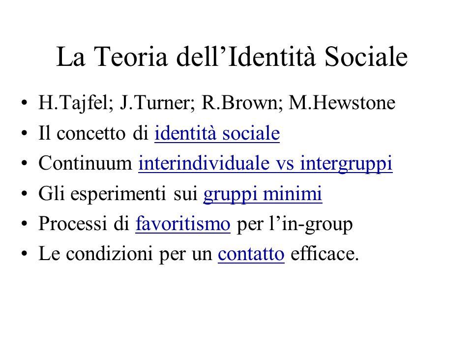 Identità Sociale La categorizzazione come sistema di ordinamento sociale; sistema di valori e di orientamento all'azione che definisce il particolare posto dell individuo nella societàcategorizzazione Identità sociale: la parte dell'identità che è legata all'appartenenza a gruppi sociali; insieme al significato valutativo ed emozionale connesso con tale appartenenza