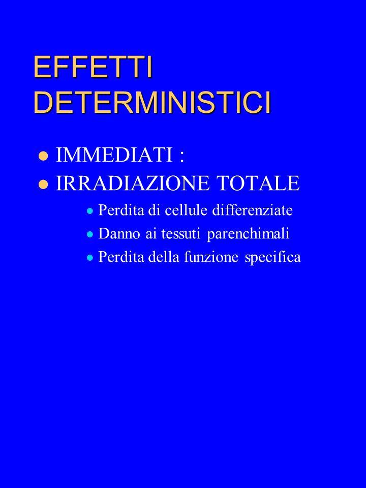 05/04/2015 44 EFFETTI DETERMINISTICI IMMEDIATI: –IRRADIAZIONE TOTALE: SINDROME DA IRRADIAZIONE