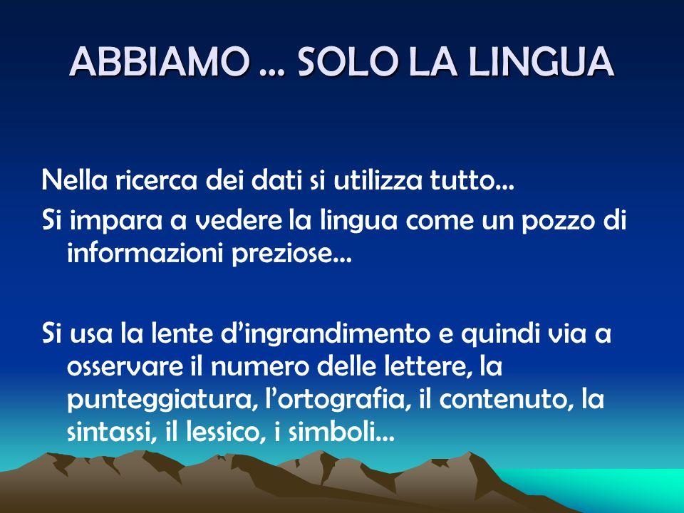 DATI E RIFLESSIONI La lingua è l'elemento materiale Le riflessioni appartengono al nostro orizzonte di significato L'orizzonte di significato di chi scrive, quello di chi legge e quello di chi interpreta