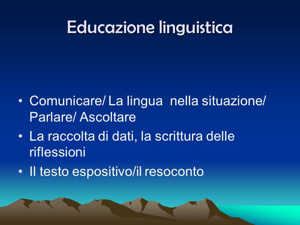 Educazione letteraria Osservazione della struttura grafica di un testo I verbi della narrazione, modi,tempi,il ritmo, le connessioni e la loro significatività.