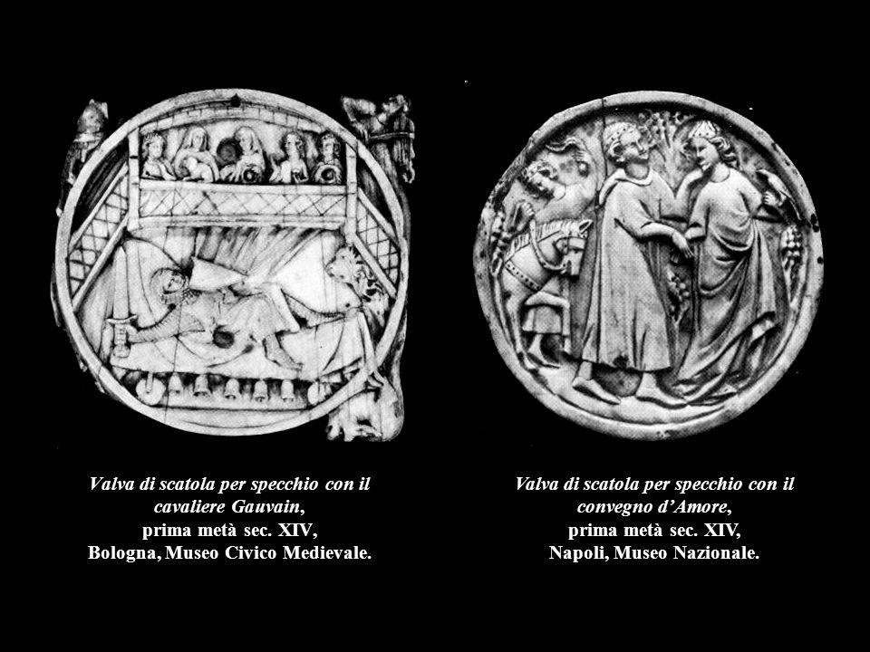 Valve di scatole per specchio con il convegno d'Amore e con il dio d'Amore assediato nel suo castello, prima metà sec.