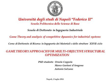 Scuola di Dottorato in Ingegneria Industriale Game Theory and analysis of competitive dynamics for industrial systems Corso di Dottorato di Ricerca in.