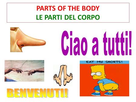 PARTS OF THE BODY LE PARTI DEL CORPO. TODAY WE WILL LEARN: Impariamo: How to introduce yourself Parts of the body (Parti del corpo) To talk about how.