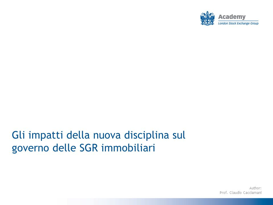 2 AGENDA Strategie gestionali ed iter decisionale delle SGR Il sistema delle deleghe Il CdA della SGR e gli organi di governance del Fondo Il rapporto tra SGR ed esperti indipendenti