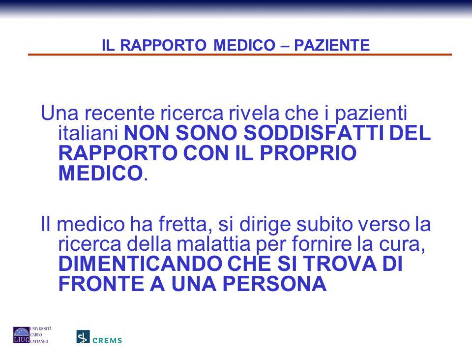 IL RAPPORTO MEDICO – PAZIENTE 18 secondi è il tempo, stimato da uno studio europeo, che intercorre tra l'inizio del racconto del malato e il primo intervento del medico.