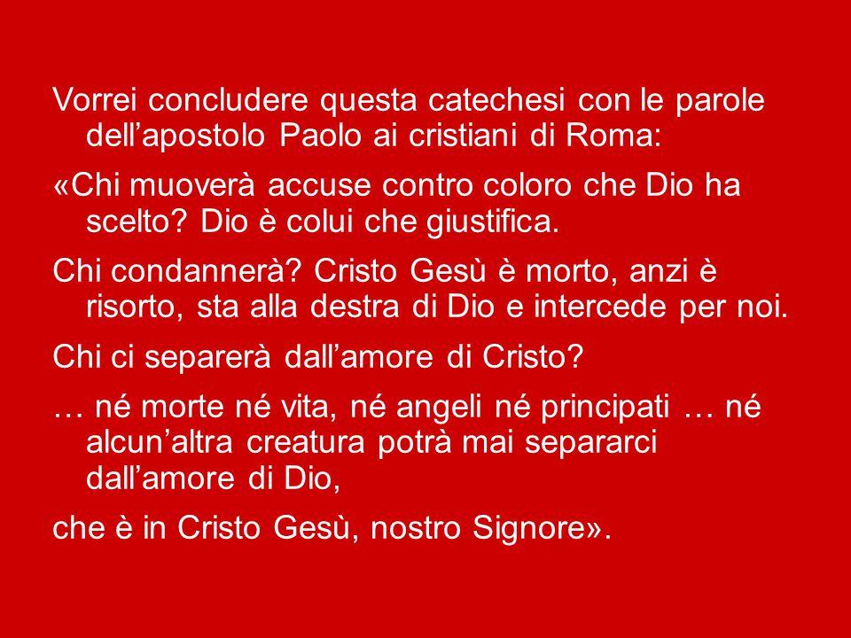 Vorrei concludere questa catechesi con le parole dell'apostolo Paolo ai cristiani di Roma: «Chi muoverà accuse contro coloro che Dio ha scelto.